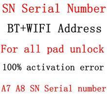 Numéro de série SN pour iPad Mini 1 2 3 4 iPad Air 1 2 iPadPro adresse Wifi et Bluetooth pour iPad Icloud déverrouiller