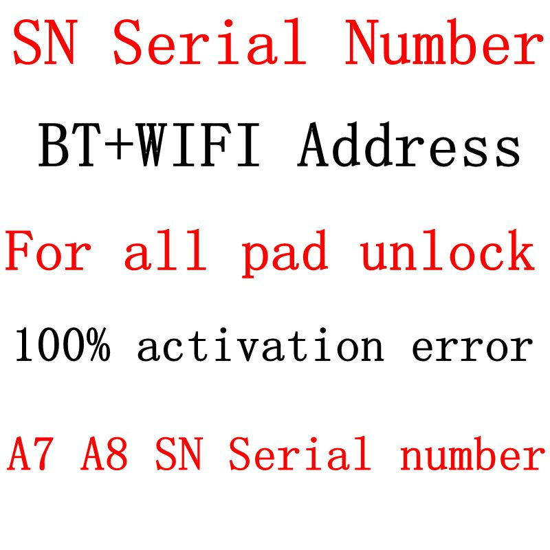 SN Serial Number For iPad mini 1 2 3 4 iPad Air 1 2 iPad Pro Serial Number WiFi Bluetooth address for iPad icloud unlock(China)