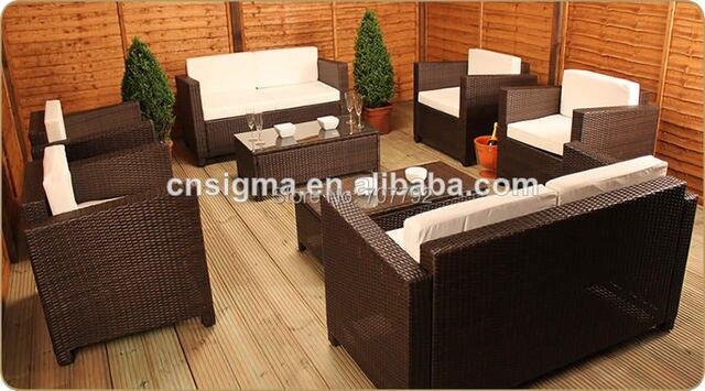 2017 estilo moderno patio muebles de ratán poli sofá balcón conjunto ...