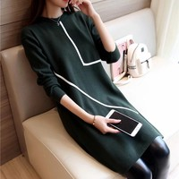 Autumn And Winter New Loose Women S Sweater Dress Long Section Round Neck Geometric Womens Sweater