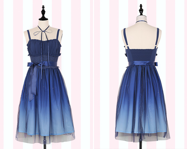 1185553abf7 Japanese Fashion Galaxy Blue Starry Dress Women Lolita Summer JSk Soft  Sister Cute Fairy Dress Lace Princess Tulle Strap Dress -in Dresses from  Women s ...