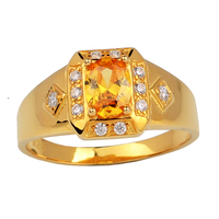 Real Sterling 925 Silver Ring For Men And Women Unisex Gold Color 6x8mm Oval CZ Jewelry