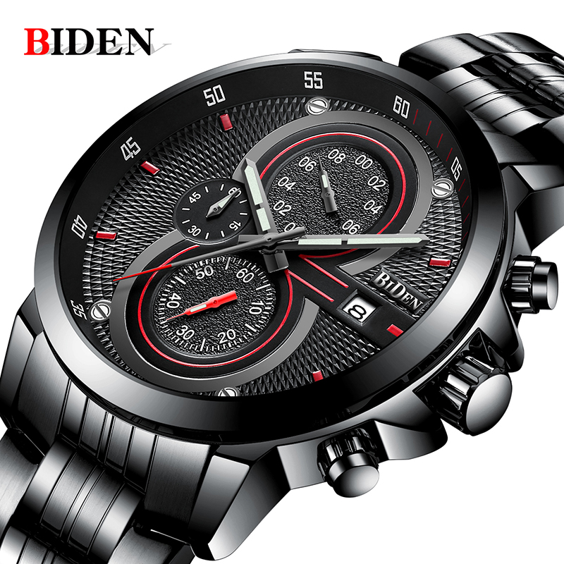 Man Watch BIDEN Top Brand Luxury Steel Strap Business Quartz Watch Military Army Waterproof Sports Watch men relogio masculino