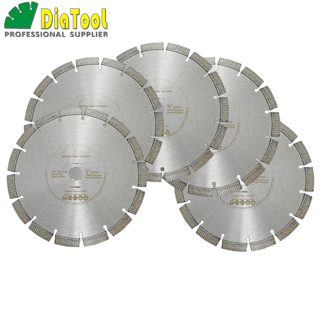 DIATOOL 5pcs 9 Inch Laser Welded Arrayed Diamond Blade Cutting Disc Dia 230mm Saw blades Reinforced Concrete Diamond Wheel Disk цены онлайн