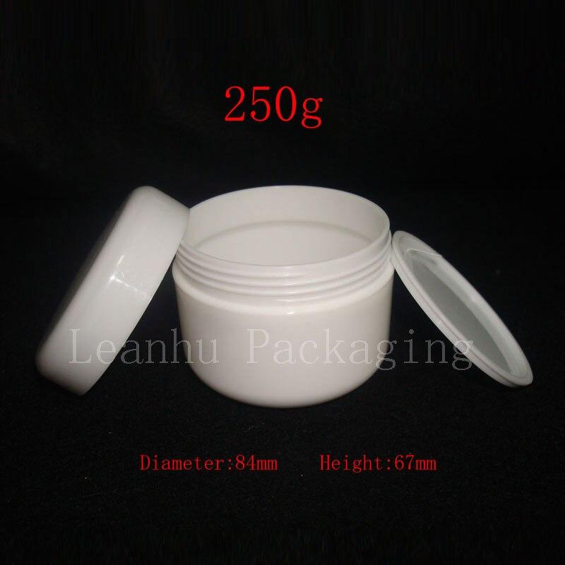 250g X 20 tarros de envase de cosméticos de crema vacía de color blanco, mascarilla para el cuidado de la piel de 250 ml botellas de PP y embalaje, jarra de plástico-in Botellas rellenables from Belleza y salud on AliExpress - 11.11_Double 11_Singles' Day 1