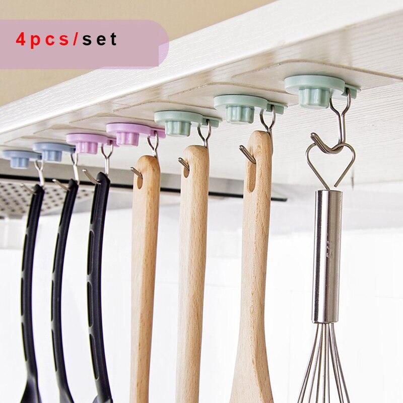 4pcset Bathroom Shelves Kitchen Organizer Hanger Adhesive Coat Hooks Stick On Wall Shelf