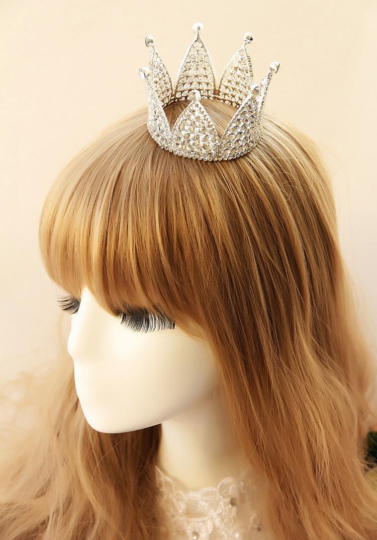 korean full rhinestone small circle bride crown head crown fine