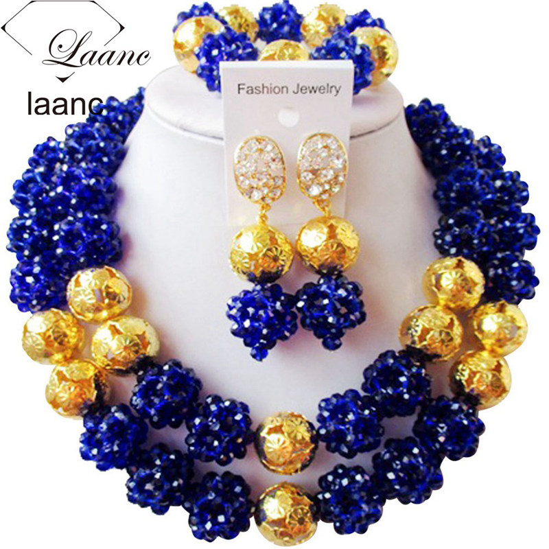 Laanc Royal Blue Wedding Jewelry Sets Crystal African Style Nigerian Beads Set Earrings and Necklace for Women AL535Laanc Royal Blue Wedding Jewelry Sets Crystal African Style Nigerian Beads Set Earrings and Necklace for Women AL535