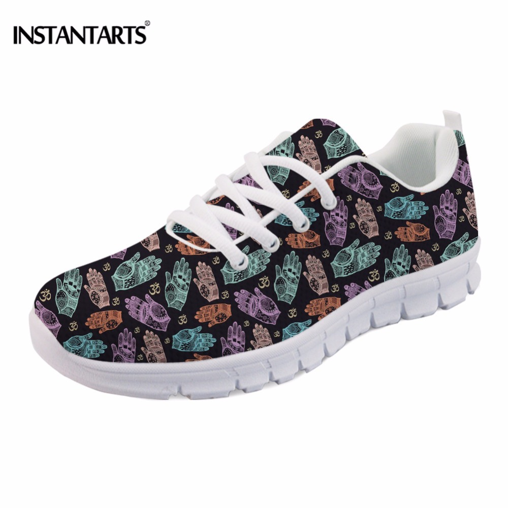INSTANTARTS Breathable Women Flats Shoes Funny Colorful Om Printing Teenager Girls Mesh Flats Shoes Fashion Comfortable Sneakers instantarts leisure women mesh flats shoes cute arabian horse flower print girls flats shoes breathable light lace up sneakers