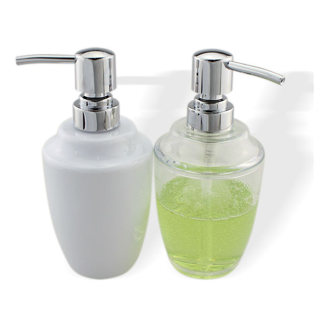 Abs Soap Lotion Dispenser Pump Bottle For Kitchen Or Bathroom Countertops Clear Chrome 12 Oz