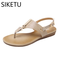 SIKETU Women Sandals Summer New European American Style Metal Buckle Decoration Clip Toe Woman Shoes Sexy