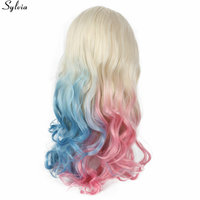 Sylvia Long Blonde Ombre Half Blue/Half Pink Wigs Synthetic Lace Front Wig Heat Resistant Hair Cosplay Party Hairstyle Deep Wave