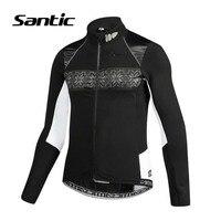 Santic Cycling Jacket Men Long Sleeve Windproof Cycling Clothing Fleece Thermal Bicycle Wind Coat Mountain Road Bike Jacket