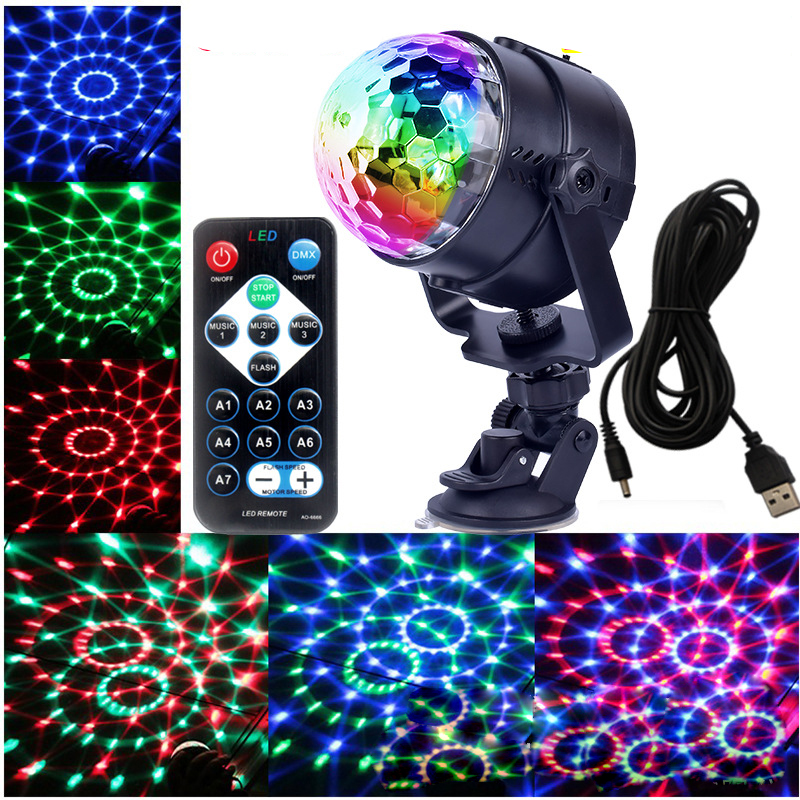 Voice mini RGB led stage lights with remote control magic ball projector disco dance DJ stage effect light