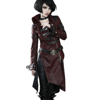 2017 Winter Gothic Cross Leather Long Coat Punk Patchwork Red Black Long Sleeve Stand collar Women Jacket Wind Coats