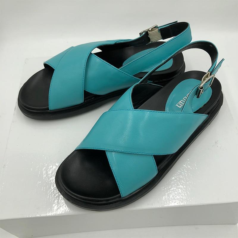 Bleu Marron Simple Sandales Printemps Et Chaussures Tendance Confort rdCBxoe