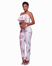 Misstyle Women 2 Pieces Set Summer Floral Print Sexy Spaghetti Strap Ruffles T-shirt + Long Pants Casual Crop Tops and