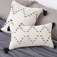 Striped Tassels Tufted Pompoms Throw Pillow Case Soft Cozy Cotton Woven Pillowcase Bedroom Office Knitted Pillow Cover Black