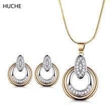 HUCHE Sets of Jewelry Copper Necklaces Pendants and Earrings for Women Fashion Gold-Color Jewelery Parure Bijoux Femme ZT032