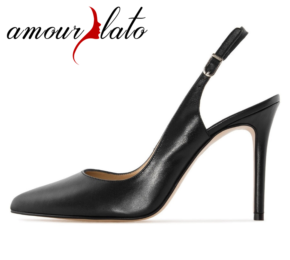 5b398ec5a1380 Amourplato Women s Pointed Toe Slingback pumps Ankle Strap Pumps Closed Toe  Summer Comfort Party Dress Court