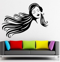 Long Hair Sexy Girl Vinyl Wall Teen Girl in Headphones Music Rock Pop Girl For Bedroom Mural Wall Sticker Removeable Home Decor