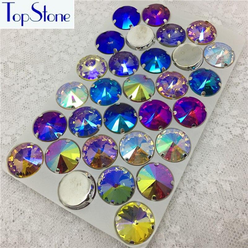 Все AB Цвет пришить Кристалл Rivoli Стразы в серебре Claw Установка 6,8, 10,12, 14,16, 18 мм круглый Шить-на камень платье делает