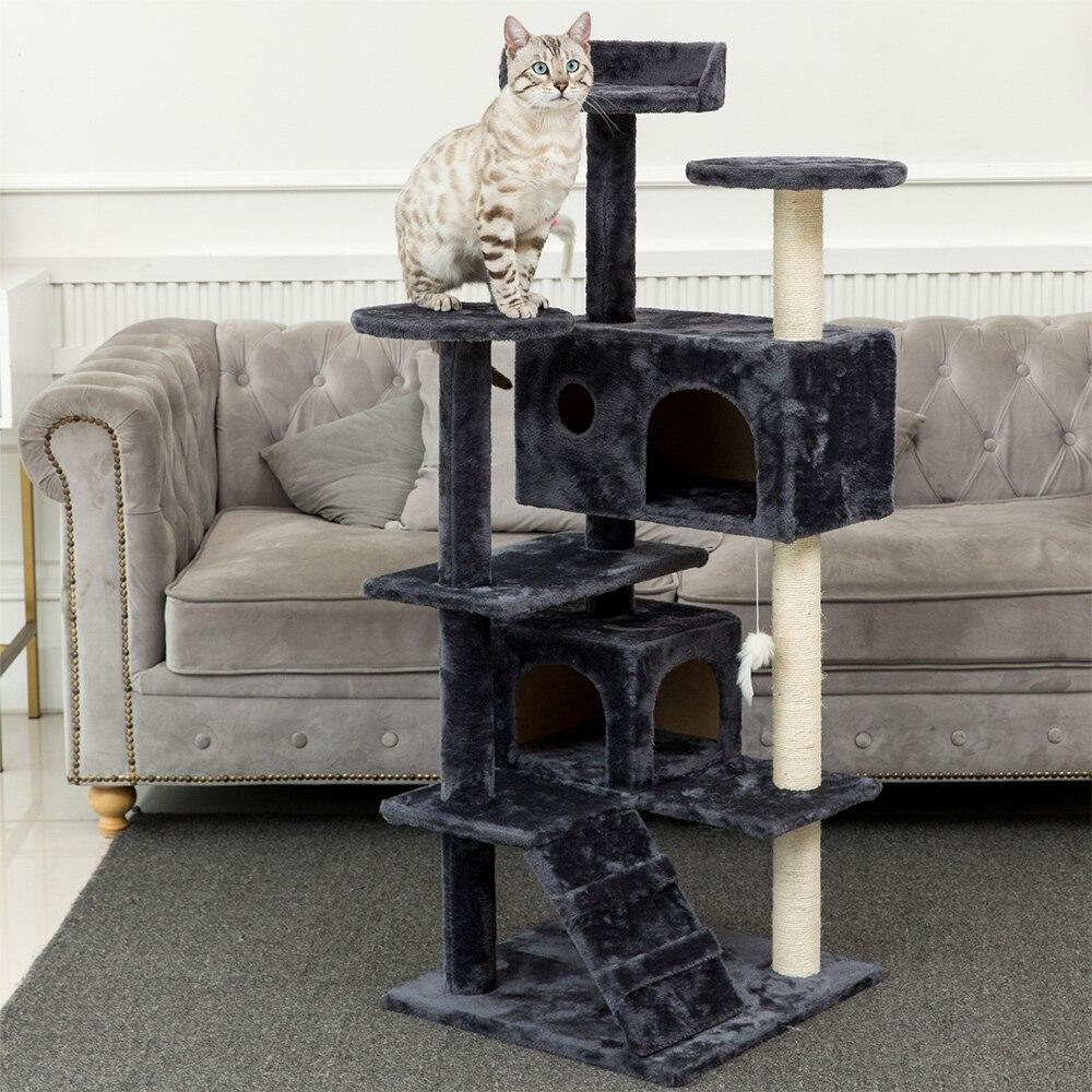 Arbre à chat à plusieurs niveaux avec griffoir couvert de Sisal perchoirs en peluche de pente Condo spacieux et grand hamac arbre de maison de chat
