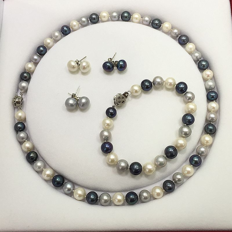 fine jewelry pearl necklace bracelet stud earring set white grey peacock mix color perfectly round natural pearl for girl gift four color round stud earring set 4pair
