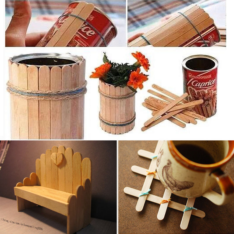 60Pcs Lot Diy Wooden Popsicle Stick Kids Hand Craft Manual Model Making Material Ice Cream Mounted Funny Toys In Sticks From Home
