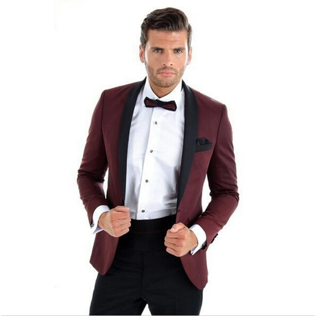 Burgundy With Black Lapel Mens Dinner Party Prom Suits Groom Tuxedos ...
