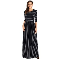 Zmvkgsoa Ladies New Style Dresses Multicolor Striped Casual Formal Maxi Dress With Pockets For Women m610233