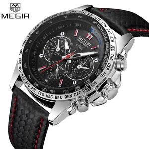 Image 1 - MEGIR zegarek mężczyźni Sport wodoodporny zegar kwarcowy Top marka luksusowy biznes wojskowy męski zegarek Relogio Masculino 1010