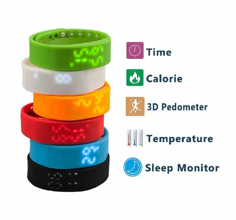 W2 LED Digital Sports USB WristWatch Silicone Band Smart Watch For Kids Women Men Calorie 3D