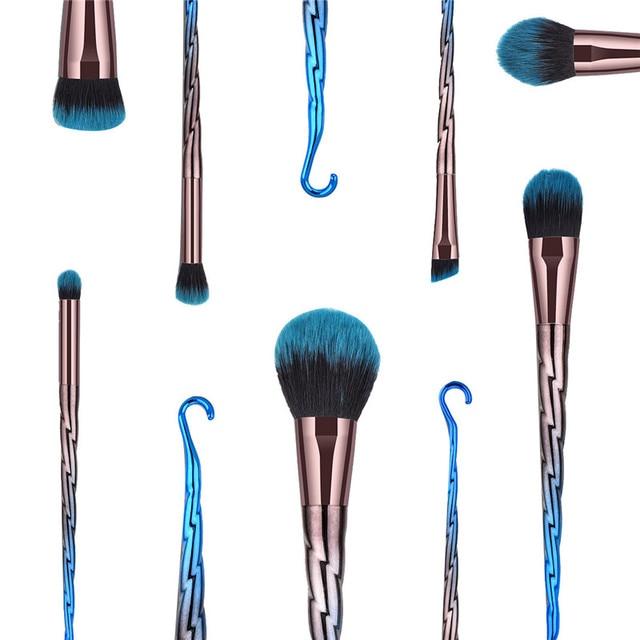 7Pcs Thread Hook Makeup Brushes Professional Slim Waist Eye Shadow Eyebrow Brush Set Flame Foundation Blending Powder Brush 2