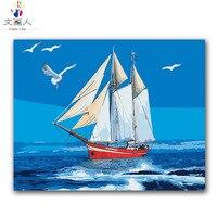 디지털 그림 바다 블루 스카이 항해 갈매기 바다