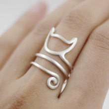 Silver Twine Cat Ring Girl Jewelry