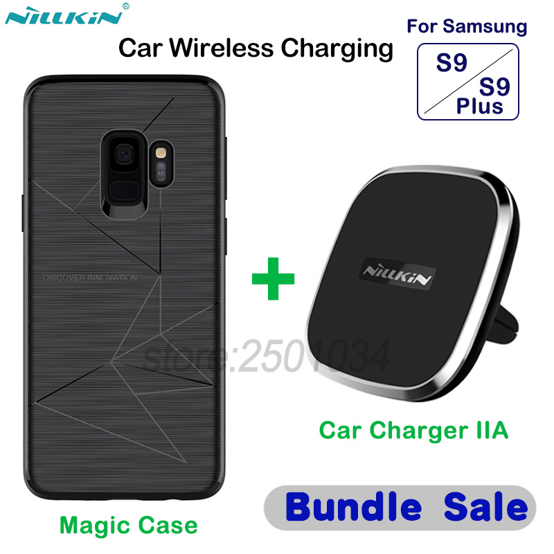 NILLKIN De Voiture Magnétique Sans Fil Chargeur Pad Chargeur De Voiture Support de Téléphone + Magie Cas pour Samsung Galaxy S9/S9 + plus De Voiture-Chargeur