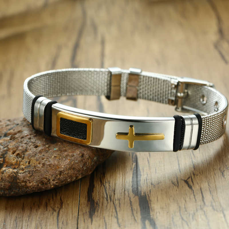 Meaeguet браслет из нержавеющей стали с крестиком и браслет мужские Регулируемые часы браслеты браслет христианские ювелирные изделия