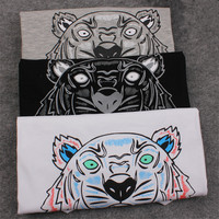 2017 Summer European Style Brand T Shirt Women Tiger Head Letter Print T Shirt Fashion Tiger