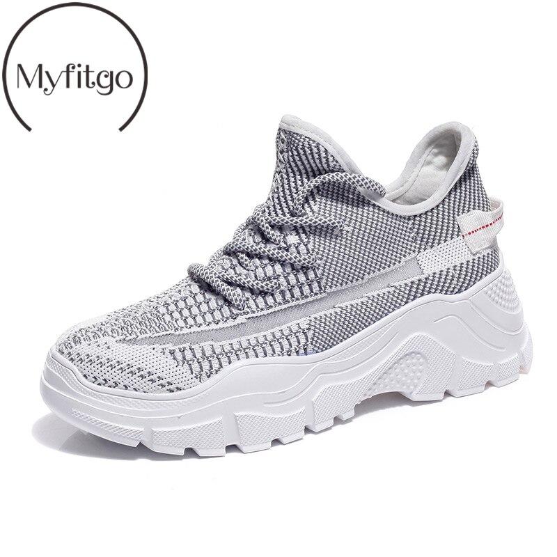 Myfitgo marque homme femmes baskets Shinny fête Clubwear sport chaussures de course à lacets Air Mesh femme chaussures de mode baskets 2019
