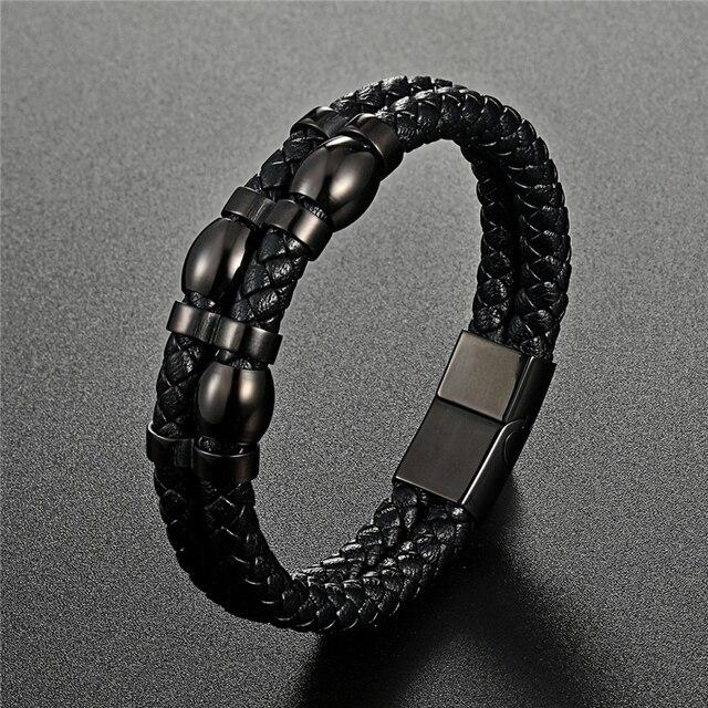 Купить мужской многослойный кожаный браслет черный винтажный из нержавеющей картинки