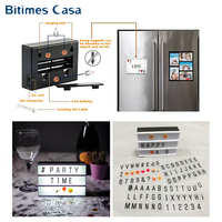 Bitimes Magnetic DIY LED Message Box Board A6 Size 105MM*148MM Fridge Refrigerator Magnets Message Light Box USB Charge