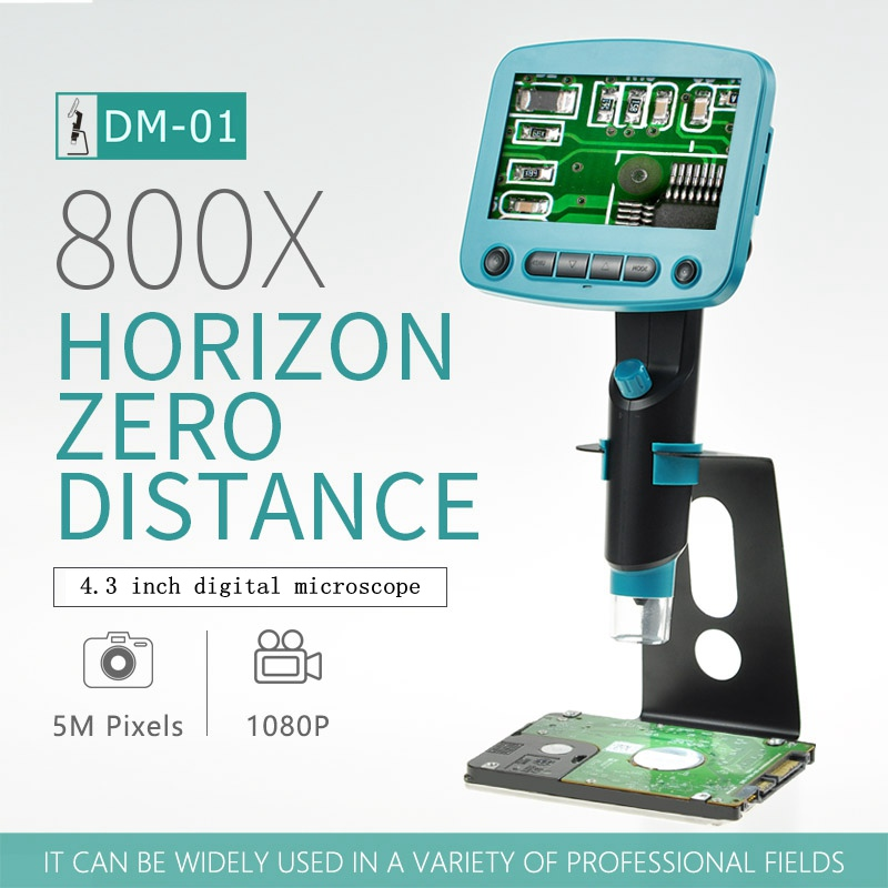 1-800X 5.0MP цифровой электронный микроскоп 4,3 ЖК-дисплей HD видео микроскоп для печатной платы Материнская плата мобильный телефон ремонт паяль...