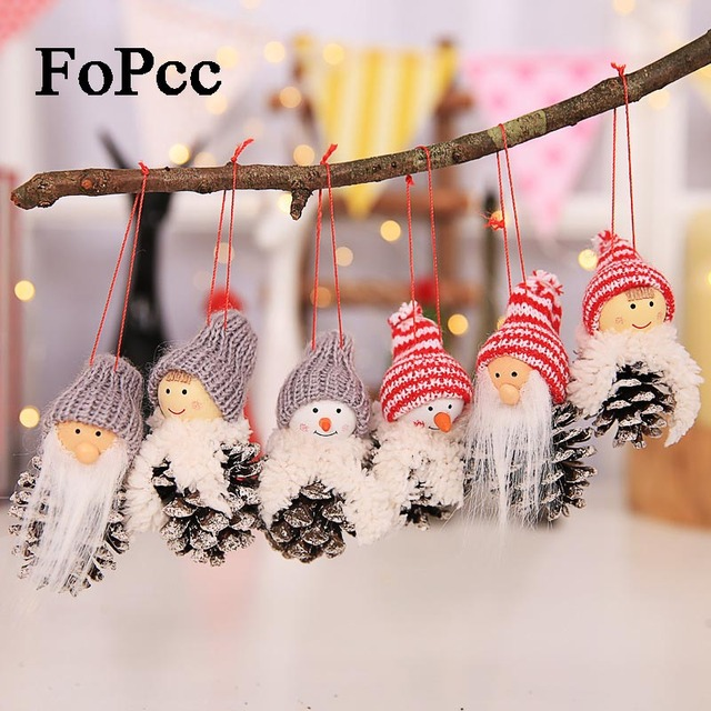 2018 new santa claus christmas hanging ornaments pine cone xmas doll gift 3pcssets tree