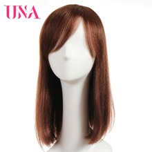 UNA Straight Human Hair Wigs Non-Remy Malaysian Hair 16 Mono Web Top Color #1 #1B #2 #4 #27 #30 #33 #99J #BUG #350 #2/33 цена