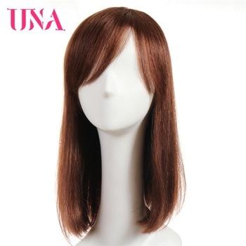 UNA Straight Human Hair Wigs Non-Remy Malaysian Hair 16 Mono Web Top Color #1 #1B #2 #4 #27 #30 #33 #99J #BUG #350 #2/33 una non remy brazilian human hair wigs for women fantasy wave 150% density color 2 33 1 1b 2 4 27 30 33 99j bug 350