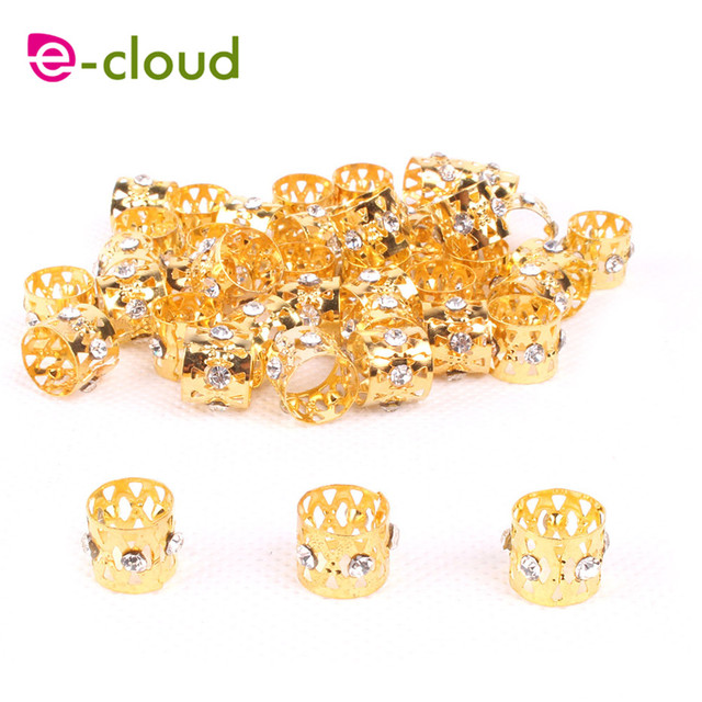 50 100pcs Gold Rhinestone Hair Dread Braids Dreadlock Beads