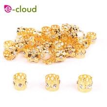 Hair-Cuffs-Clips Hair-Beads Braids Adjustable Dreadlocs Gold for Women Rhinestone 50-100pcshair