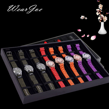 Portátil negro/gris reloj embalaje de almacenamiento bandeja plana 8 compartimiento red caja Interior de terciopelo vitrina para reloj soporte