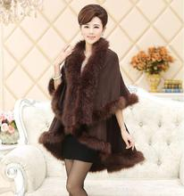 2016 New Winter Womens Capes and Ponchos Fashion Fake Fox Fur Collar Cashmere Sweater Women Knitted Cardigan Poncho MY13
